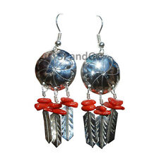 Natural Coral Bead Concha Sterling Silver Handmade Navajo Jewelry Earrings
