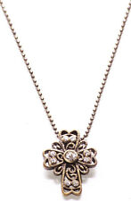 Luxurious-rustic Bronze Chain & Diamante Encrusted Cross Pendant Necklace(Zx294)