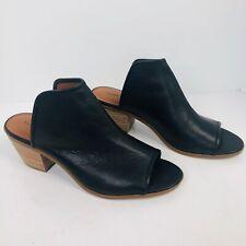 Lucky Brand baldomero Bootie Black Leather Peep Toe Heel slides 9.5 shoes new