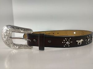 Ariat Western Girls Kids Belt Horses Rhinestones Horse shoes Brown A1305202 Sz20