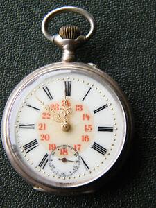 """""""Remontoir"""" Taschenuhr - 10 Rubis/800 Silber - Funktioniert - 100 Jahre alt"""