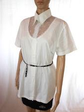 Boutique Bis Womens White Vtg 80s Secretary Classic Formal Blouse sz 14 AE18