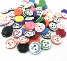 50PCS Resin Buttons Star moon pattern Mixed Color Scrapbooking Handicrafts 13mm