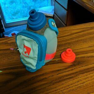 Nathan Blue Handheld 10oz Bottle Holder And Pocket, Blue, With Extra Cap