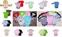 SALE GROW BABYGROW BODYSUIT VEST BABY GIRLS BOYS SHORT LONG SLEEVED PLAIN PATTER