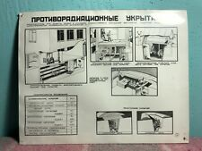 #14 SOVIET SAFETY POSTER PLATE USSR ANTIRADIATION SHELTERS *COLD WAR PROPAGANDA