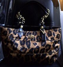 AUTH COACH MADISON OCELOT/LEOPARD PRINT TOTE BAG PURSE 15554 BROWN/BLACK/GOLD
