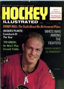 1 - 8 1/2 x 11 Hockey Illustrated Magazine April 1969 Bobby Hull  Cover