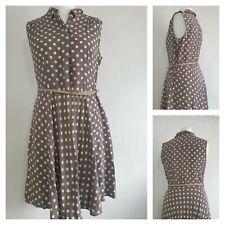 Wallis Brown Polka Dot Dress Size 14 (P1)