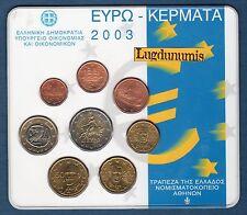 Coffret BU Grèce 2003 Tirage 50000 Exemplaires Greece 8 pièces 1 ct à 2 euro