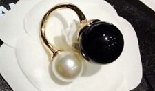 Oversized faux Pearl Double black white stack ring adjustable gold cuff wrap uk