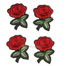 5pcs Red Rose Flower Embroidery Cloth DIY Sewing Iron on Patch Craft 7X5cm