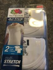 Men's Fruit of the Loom Active Collection Multi Stretch T-Shirts Small White
