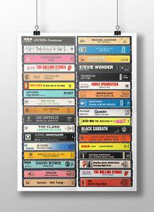 70's Music Poster: Original Cassette Print, 1970s Music Fan, Gift, Art