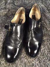 Brass Boot Monk Strap Buckle Black Dress Shoe Leather Italy Men's 9.5 M US