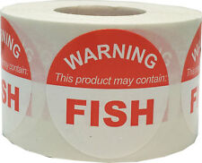 """Warning This Product May Contain Fish"" Food Allergy Labels 1.5"" Round 500 Total"