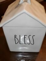 "New Rae Dunn ""BLESS"" House Birdhouse Cookie Jar Canister Artisan Collection LL"