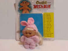 """VINTAGE 1960s Un-Branded 2.5"""" Troll White Rooted Hair Wishnik Hare-Nik Clothes"""
