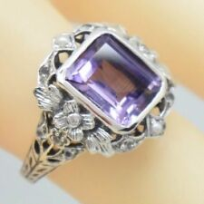 Anelli di lusso con gemme in argento sterling, ametista, misura anello 17