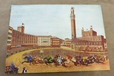LARGE VINTAGE POSTCARD PAINTING OF HORSE RACE