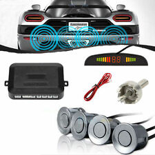 WIRELESS CAR REVERSING REVERSE PARKING 4 SENSOR KIT BUZZER ALARM Grey UK Stock