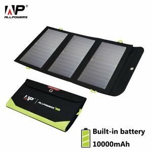 5V 21W Solar Panel Charger Foldable Portable 10000mAh Battery for iPhone Camping