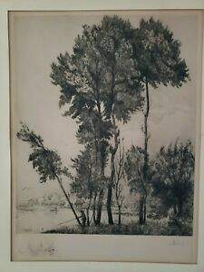 "G Lemeilleur 1928 Etching ""Man fishing on pond"""