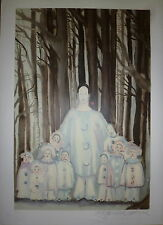 MARCEAU Marcel Lithographie Signée dessin de fleur Bip Mime Marceau art Moonwalk