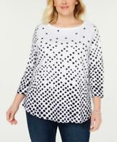 MSRP $28 Charter Club Plus Size Printed Cotton 3/4-Sleeve Top White Size 1X