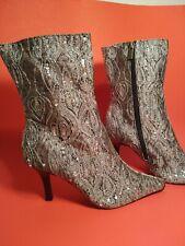 Sequin Ankle Boots 3 1/2 Heel
