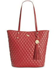 NWT EMMA FOX DEEP WINE RED QUILTED LEATHER CASPIAN NORTH SOUTH TOTE BAG PURSE