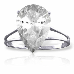 Genuine White Topaz Pear Cut Gem Solitaire Ring in 14K. Yellow, white, Rose Gold