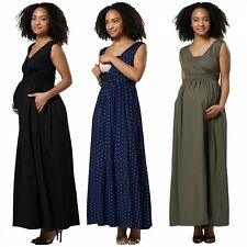Happy Mama Women's Maternity Nursing Maxi Dress Sleeveless Side Pockets. 012p