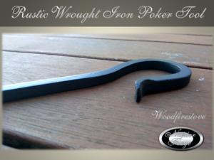 WOOD HEATER POKER Wrought Iron 10mm Square Iron Premium L63cm Fireplace Tools