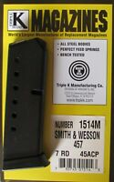 Smith & Wesson 4516 457 45acp 7 Round Blued Steel Magazine w/ Finger Rest Mag