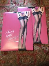 2 Pr Glam It Up Victoria's Secret Classic Black Nylon Stockings Size B