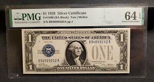 1928 $1 SILVER CERTIFICATE FR.1600 BA BLOCK PMG CHOICE UNC 64 EPQ