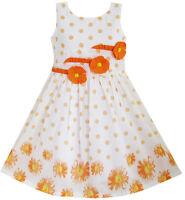 Sunny Fashion Girls Dress Orange 3 Sunflower Party Birthday Age 6-14