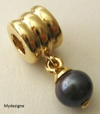LARGE GENUINE SERENITY  9K 9ct  SOLID GOLD BEAD with NATURAL BLACK PEARL  DROP