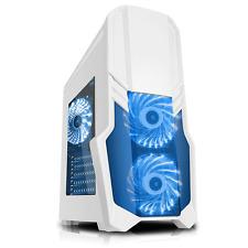 CiT G Force RGB Gaming Computer PC Window Case 2 x RGB Remote Fan White