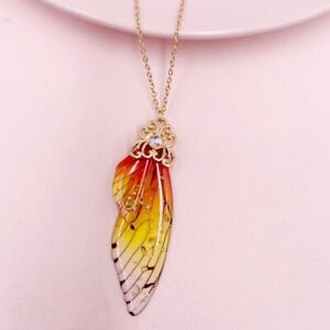 Fairy Gold Pendant Resin Red Butterfly Wing Necklace Thanksgiving Jewelry