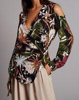 M&S AUTOGRAPH Floral Print Cold Shoulder Tie Side Blouse