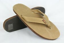 New Rainbow Men's Premier Leather Single Layer Sandals XXL 12-13.5 Sierra Brown