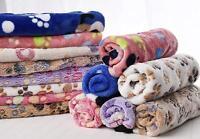 Warm Pet Blanket Small Large Paw Print Cat Dog Puppy Fleece Bed Sofa Mat Cushion