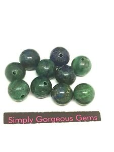 10 Pretty Round Azurite Malachite Gemstone Beads - 10 mm