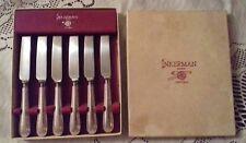 "6 x Inkerman 7.5"" dessert knives. boxed set. Silver Sheffield"