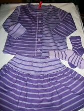 Nwt Hanna Andersson~Opposite Stripe~Purple Cardigan, Skirt, Socks~Size 80~18-24m