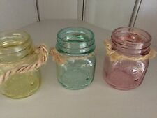 Vintage Style Coloured Glass Garden Jar Candle Lantern Tea Light Holders X 3