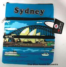 1x Australian Souvenir Travel Bags 3 Zipper Compartments - 5 Designs To Choose