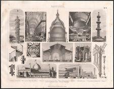 1870 Gravure originale construction architecture verre dôme Paris Lyon Londres